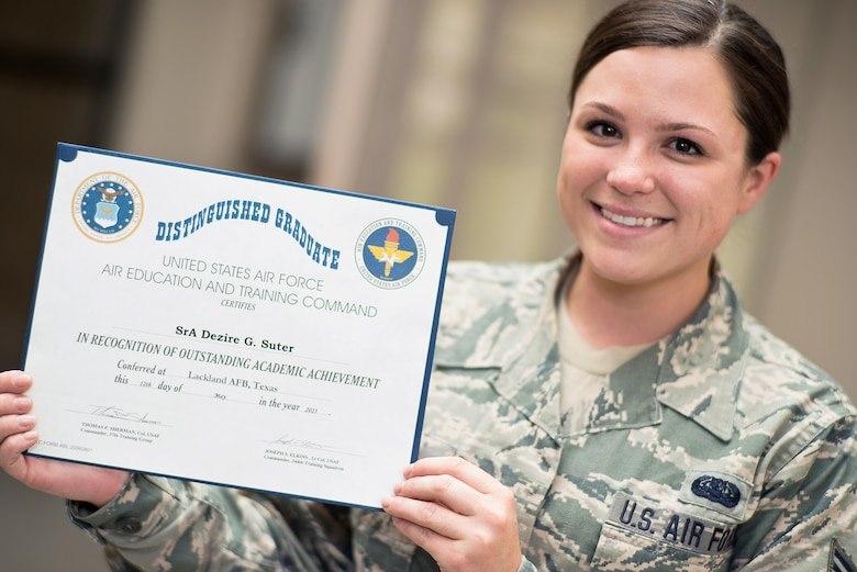 Senior Airman Dezire Suter, 137 ARW production recruiter, was the distinguished graduate from the Air National Guard recruiting school at Joint Base San Antonio, Texas on May 12, 2015. (U.S. Air National Guard photo by Master Sgt. Andrew M. LaMoreaux/Released)