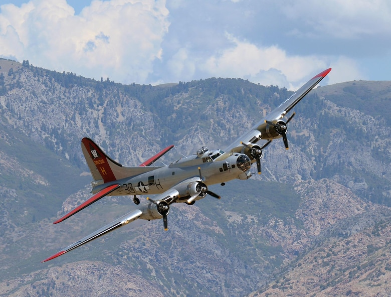 "The Experimental Aircraft Association's B-17, also known as ""Aluminum Overcast,""  banks right above Hill Air Force Base, Utah, Aug. 13, 2015.  EAA's B-17 is painted to resemble B-17G No. 42-102515 of the 398th Bombardment Group (Heavy) that flew from Royal Air Force Nuthampstead, England, during World War II. That aircraft was shot down over Le Manior, France, on Aug. 13, 1944, during its 34th combat mission. (U.S. Air Force photo/R. Nial Bradshaw)"