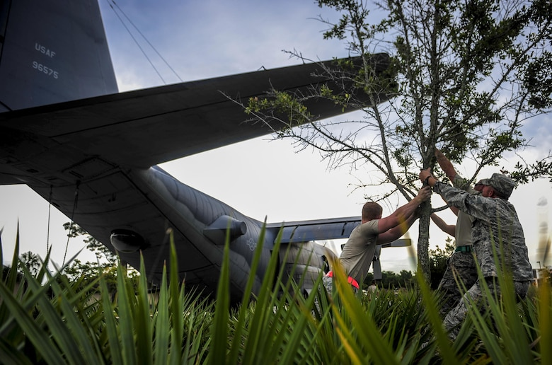 Airmen with the 1st Special Operations Aircraft Maintenance Squadron move a tree to avoid contact with the tail of an AC-130H Spectre on Hurlburt Field, Fla., Aug. 15, 2015. More than 40 personnel from eight base organizations were on site during the tow process. The AC-130H will be displayed at the north end of the Air Park. (U.S. Air Force photo/Senior Airman Meagan Schutter)