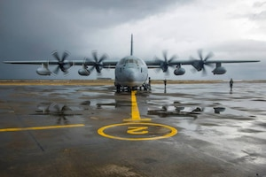 A Marine Corps KC-130 prepares to transport evacuees from Tacloban Air Base to the Manila area in support of Operation Damayan, the name for military relief efforts to help the population after 2013's typhoon Haiyan. The Army I Corps' 593rd Expeditionary Sustainment Command supported the Marines' relief efforts. U.S. Navy photo by Petty Officer 3rd Class Ricardo R. Guzman