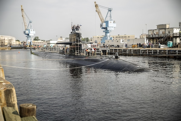 150721-N-MA158-014 (July 21, 2015) PORTSMOUTH, Va. - USS Helena is scheduled to receive technology upgrades that will include the installation of a modular framework of processors and consoles, high-resolution monitors, and large-screen displays.