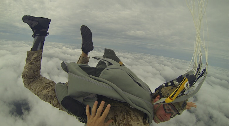 Tech. Sgt. Zachary Rhyner completed a final military freefall jump before he medically retired Aug. 21, 2015, due to wounds in sustained in combat that prevented mobility below the knee. Rhyner is an Air Force Cross recipient and Special Tactics combat controller attached to the 24th Special Operations Command. Rhyner served 11 years, resulting in three Purple Hearts and six deployments. (U.S. Air Force courtesy photo/Released)
