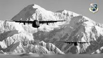 Alaska Air National Guard C-130s over Denali