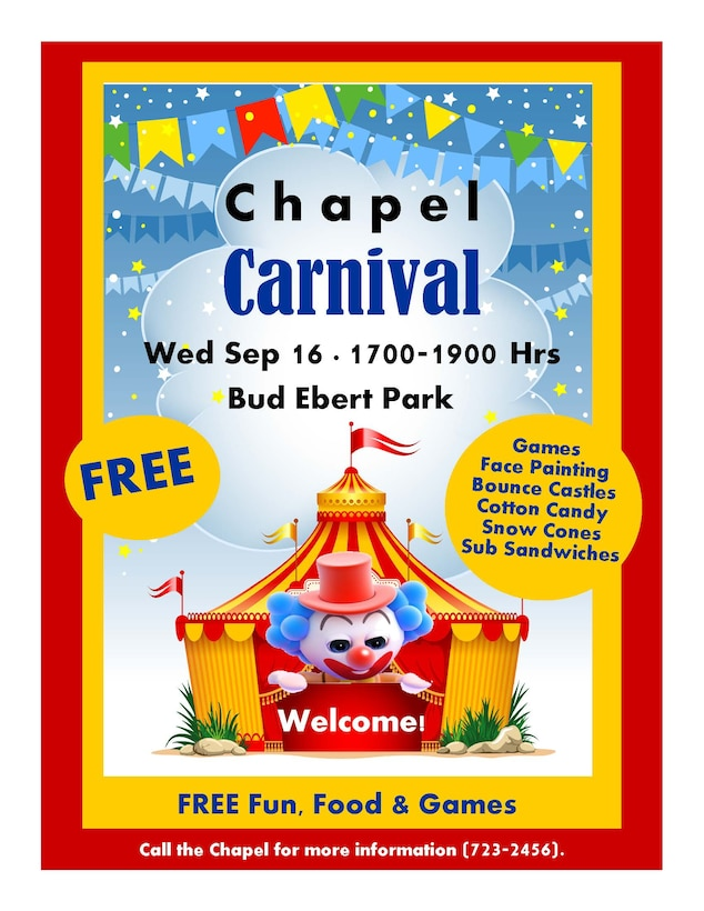 Come on out to the Chapel Carnival Sept. 16 for fun with the family.