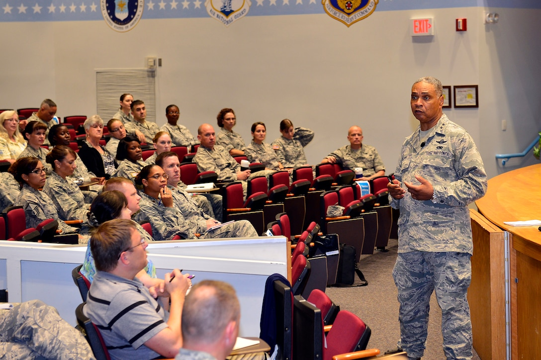 MCGHEE TYSON AIR NATIONAL GUARD BASE, Tenn. -  The Special Assistant to the Chief, National Guard Bureau, Air Force Maj. Gen. Garry C. Dean shares his perspective on general officer's needs during an hour-long lecture here Aug. 20, 2015, in the General Officer Support Staff Course at the I.G. Brown Training and Education Center. General Dean also joined a panel discussion made up of current and prior support staff from the Pentagon and the National Guard Bureau. (U.S. Air National Guard photo by Master Sgt. Jerry Harlan/Released)