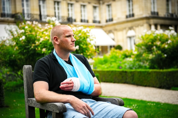Airman 1st Class Spencer Stone along with Jane D. Hartley,  the U.S. ambassador to France, and his two friends speak at a press conference in Paris Aug. 23, 2015, following a foiled attack on a French train. Stone was on vacation with his childhood friends, Aleksander Skarlatos and Anthony Sadler, when an armed gunman entered their train carrying an assault rifle, a handgun and a box cutter. The three friends, with the help of a British passenger, subdued the gunman after his rifle jammed. Stone's medical background prepared him to begin treating wounded passengers while waiting for the authorities to arrive. Stone is an ambulance service technician assigned to the 65th Medical Operations Squadron stationed at Lajes Field, Azores. (U.S. Air Force photo/Tech. Sgt. Ryan Crane)