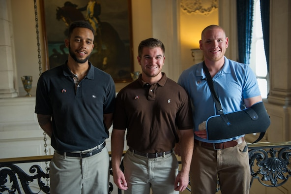 Airman 1st Class Spencer Stone (right), Aleksander Skarlatos and Anthony Sadler pose for a photo in Paris Aug. 23, 2015, following a foiled attack on a French train. Stone was on vacation with his childhood friends, Aleksander Skarlatos and Anthony Sadler, when an armed gunman entered their train carrying an assault rifle, a handgun and a box cutter. The three friends, with the help of a British passenger, subdued the gunman after his rifle jammed. (U.S. Air Force photo/Tech. Sgt. Ryan Crane)