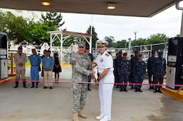 Naval Supply Systems Command (NAVSUP) Fleet Logistic Center (FLC) Yokosuka, Site Atsugi fuel department personnel conducted a ribbon cutting ceremony Jul. 23 re-opening the government gas station onboard Naval Air Facility Atsugi.