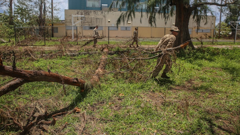 U.S. Marines clear debris at a high school as part of a typhoon relief mission in Saipan, Aug. 12, 2015 The Marines with Echo Company, Battalion Landing Team 2nd Battalion, 5th Marines, 31st Marine Expeditionary Unit and Combat Logistics Battalion 31, 31st MEU, assisted the locals of Saipan by clearing debris from several schools. The Marines and sailors of the 31st MEU were conducting training near the Mariana Islands when they were redirected to Saipan after the island was struck by Typhoon Soudelor Aug. 2-3.