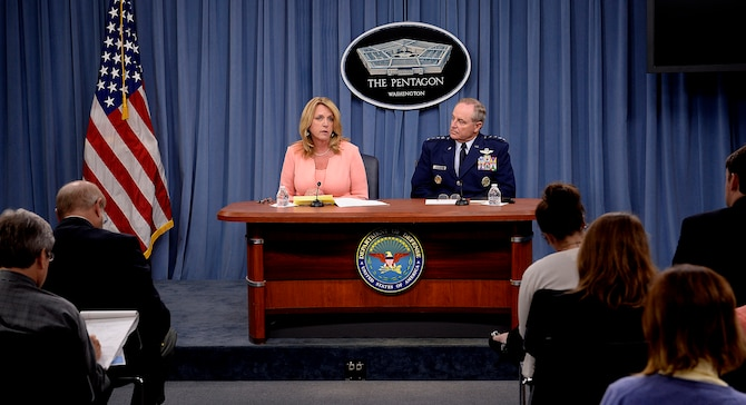 Secretary of the Air Force Deborah Lee James provides an update with Air Force Chief of Staff Gen. Mark A. Welsh III on current Air Force operations during a press briefing in the Pentagon, Aug. 24, 2015.  (U.S. Air Force photo/Scott M. Ash)