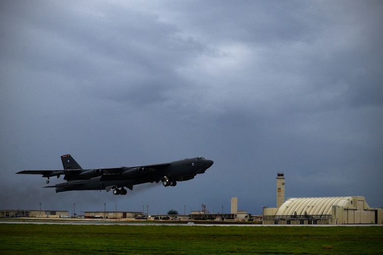 A U.S. Air Force B-52 Stratofortress assigned to the 20th Expeditionary Bomb Squadron takes off on the flightline Aug. 22, 2015, at Andersen Air Force Base, Guam. Bomber crews with the 20th EBS from Barksdale Air Force Base, Louisiana, are part of U.S. Pacific Command's continuous bomber presence and support ongoing operations in the Indo-Asia-Pacific region. (U.S. Air Force photo by Staff Sgt. Alexander W. Riedel/Released)
