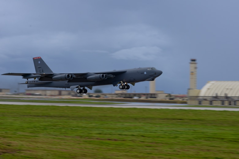 A U.S. Air Force B-52 Stratofortress from the 20th Expeditionary Bomb Squadron, takes off from Andersen Air Force Base, Guam, Aug. 22, 2015. Bomber crews with the 20th EBS from Barksdale Air Force Base, Louisiana, are part of U.S. Pacific Command's Continuous Bomber Presence and support ongoing operations in the Indo-Asia-Pacific region. (U.S. Air Force photo by Staff Sgt. Robert Hicks/Released)