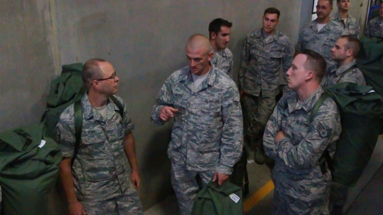 Citizen-Airmen of the 173rd Fighter Wing, Oregon Air National Guard, process through a mobilization line in preparation for their state activation to help fight wildfires that have a plagued the state of Oregon throughout the summer Aug. 24, 2015 at Kingsley Field, Oregon.  Governor Kate Brown has activated 250 member of the Oregon National Guard, 49 of which are stationed at Kingsley Field, Oregon.  (U.S. Air National Guard photo by Master Sgt. Jennifer Shirar/released)