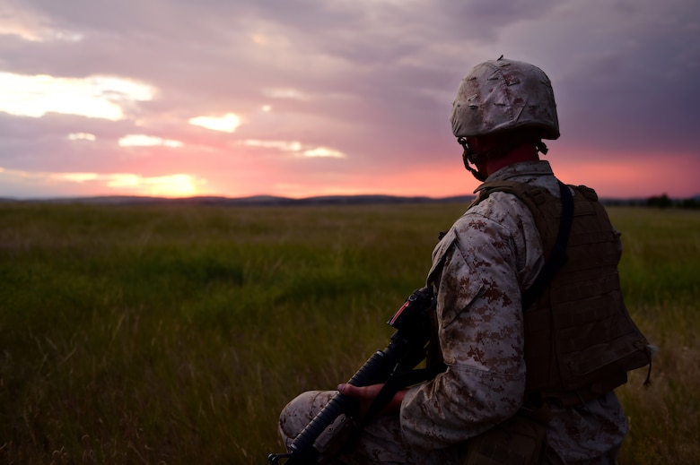 A Marine from Quebec Battery, 5th Battalion 14 Marines, looks out onto the countryside as he waits for the artillery guns to emplace at his position Aug. 14, 2015, in Guernsey, Wyoming. Before the guns emplace, an advanced party arrives at the scene where the Marines want to fire. These Marines set up where the guns will be laid, communications and a fire direction center for operations. (U.S. Air Force photo by Airman 1st Class Luke W. Nowakowski/Released)