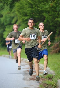 Participants run in honor of Sgt. Lucas Pyeatt and other fallen service members aboard Camp Lejeune, N.C., Aug. 1, 2015. The annual run has been hosted by the battalion for three years and commemorates Pyeatt and other fallen service members.  (U.S. Marine Corps photo by Pfc. Erick Galera/Released)