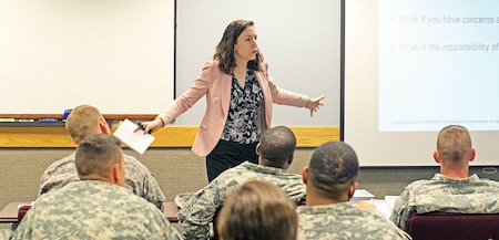 Erin Towner, master resilience trainer and performance expert, teaches a class of level two MRT students July 30 at the Fort Riley Victory Center. Towner said the skills taught in the MRT course help students identify patterns in thinking that they can then use to combat adversity.