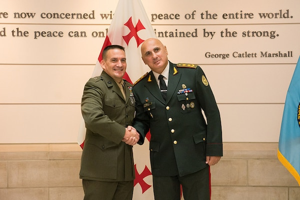 NDU President Major General Fred Padilla greets the Chief of General Staff of Georgian Armed Forces Major General Vakhtang Kapanadze