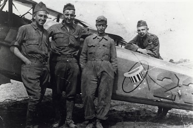 Aircraft maintainers assigned to the 94th Aero Squadron during World War I stand next to a SPAD. The unit is credited with the last aerial victory of the war, one day before the Armistice.  (Courtesy photo)