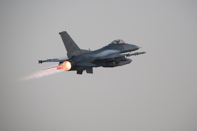 A U.S. Air Force F-16 Fighting Falcon aircraft assigned to the 555th Expeditionary Fighter Squadron takes off on a combat sortie from Bagram Airfield, Afghanistan, Aug 24, 2015. The F-16 is a multi-role fighter aircraft that is highly maneuverable and has proven itself in air-to-air and air-to-ground combat. (U.S. Air Force photo by Tech. Sgt. Joseph Swafford/Released)