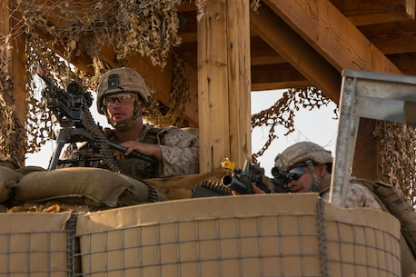 U.S. Marines with Company A, 1st Battalion, 7th Marine Regiment, provide perimeter of security while conducting security force operations as a part of Large Scale Exercise (LSE) at Marine Corps Air Ground Combat Center Twentynine Palms, Calif., Aug. 18, 2015. LSE is a joint forces exercise conducted at the brigade level designed to enable live, virtual, and constructive training for participating units and allows participating nations to strengthen partnerships and their ability to operate together. (U.S. Marine Corps photo by Lance Cpl. Clarence A. Leake/Released)