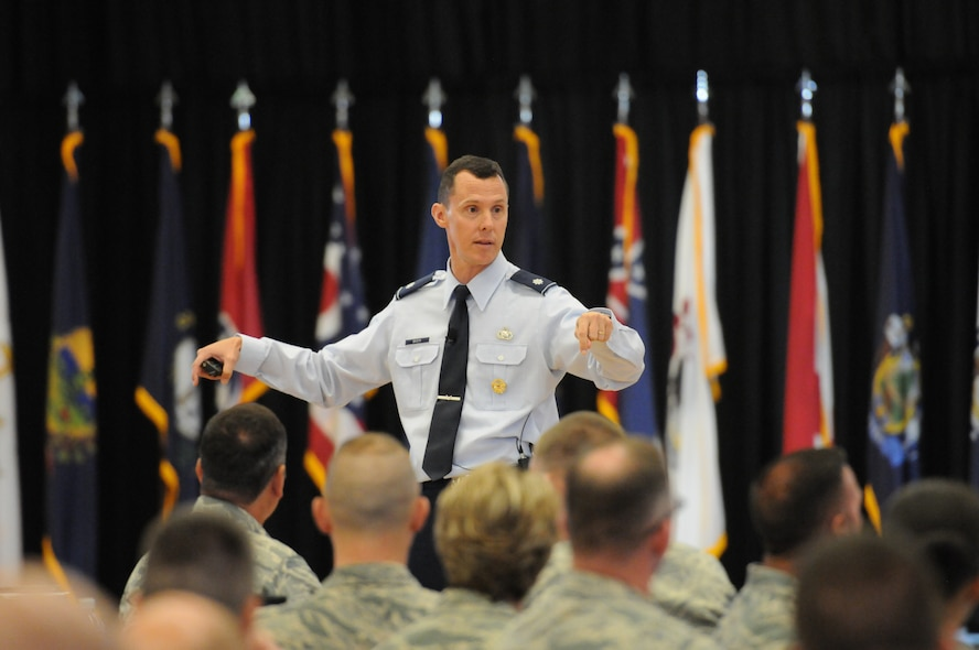 Air Force Lt. Col. Kevin Basik, Air Force representative to the Secretary of Defense for Military Professionalism, talks about better ways to communicate as a supervisor during the Air National Guard's Enlisted Leadership Symposium, at Camp Dawson, W. Va., Aug 18, 2015. ELS is designed for enlisted Airmen of all ranks to receive professional development that can be used to better enhance Airmen's careers. (U.S. Air National Guard photo by Master Sgt. David Eichaker/released)