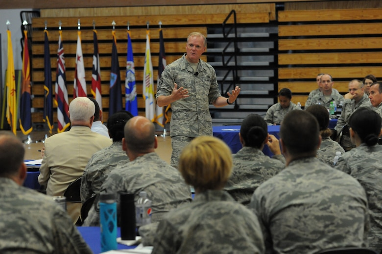 Chief Master Sgt. of the Air Force James A. Cody, speaks with Airmen at the 2015 Air National Guard Enlisted Leadership Symposium, at Camp Dawson, W. Va., Aug 18, 2015. ELS is designed for enlisted Airmen of all ranks to receive professional development that can be used to better enhance Airmen's careers. (U.S. Air National Guard photo by Master Sgt. David Eichaker/released)