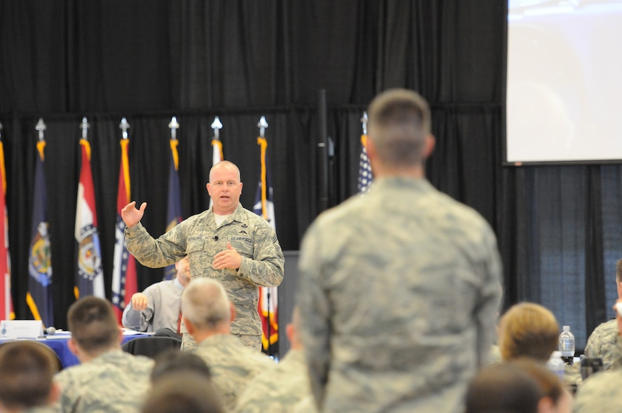 Chief Master Sgt. James W. Hotaling, command chief master sergeant of the Air National Guard, speaks at the Air National Guard's Enlisted Leadership Symposium, at Camp Dawson, W. Va., Aug 18, 2015. ELS is designed for enlisted Airmen of all ranks to receive professional development that can be used to better enhance Airmen's careers. (U.S. Air National Guard photo by Master Sgt. David Eichaker/released)