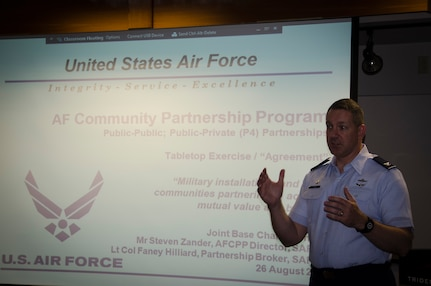 Col. Robert Lyman, Joint Base Charleston commander, delivers opening remarks during the Air Force Community Partnership Program Joint Base Charleston Tabletop Exercise, August 26, 2015 at Trident Tech College in North Charleston, S.C. The JB Charleston TTX was the culmination of several planning meetings where a core group of installation and community leaders shared information on existing partnerships, organizational needs and capabilities/resources and identified potential partnering opportunities to reduce operating and service costs or reduce risks, while retaining or enhancing quality. The exercise served as a forum for members of the installation and local communities to engage in focused discussions related to the concept of partnering and clearly identify the next steps required to make the opportunities become reality. (U.S. Air Force photo/Staff Sgt. AJ Hyatt)