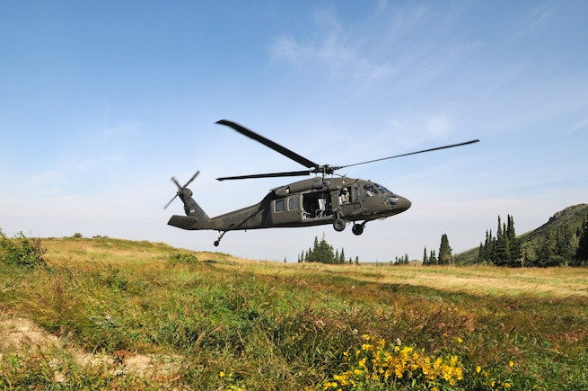 Utah Army and Air National Guard members participate in a multi-agency medevac training scenario with the Davis County Search and Rescue near the Beaver Ponds in Utah's Farmington Canyon on Aug. 16, 2015. The various agencies worked together to extract simulated critically injured patients using the hoisting system of a UH-60 Blackhawk helicopter. (U.S. Air National Guard photo by Tech. Sgt. Amber Monio/Released)
