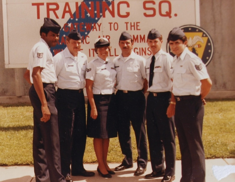 Sgt. Desiree Loy (center) poses for a photograph with her fellow boom operators at Castle Air Force Base, Calif., in 1985.  Loy, a boom operator assigned to the 157th Air Refueling Group at Pease Air Force Base, N.H., was killed during a training flight at Beale AFB, Calif., Aug. 27, 1985. (Courtesy photo)