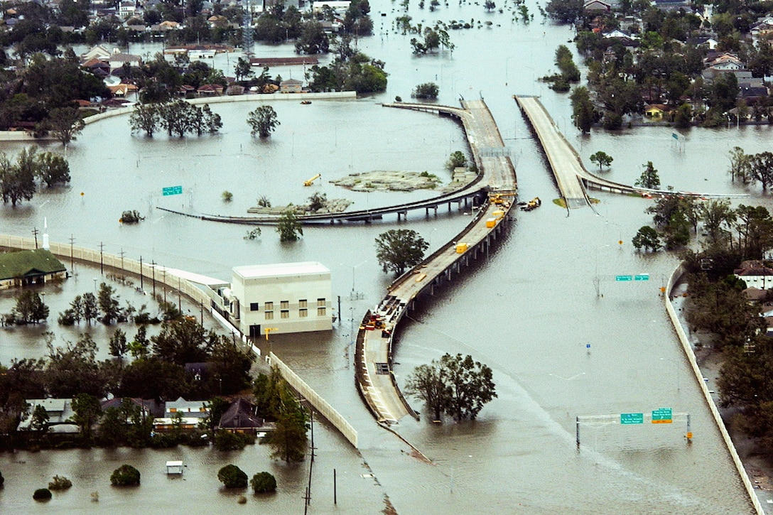 An aerial view shows flooded roadways as the Coast Guard flies over New Orleans, Aug. 29, 2005, to assess initial Hurricane Katrina damage. U.S. Coast Guard photograph by Petty Officer 2nd Class Kyle Niemi