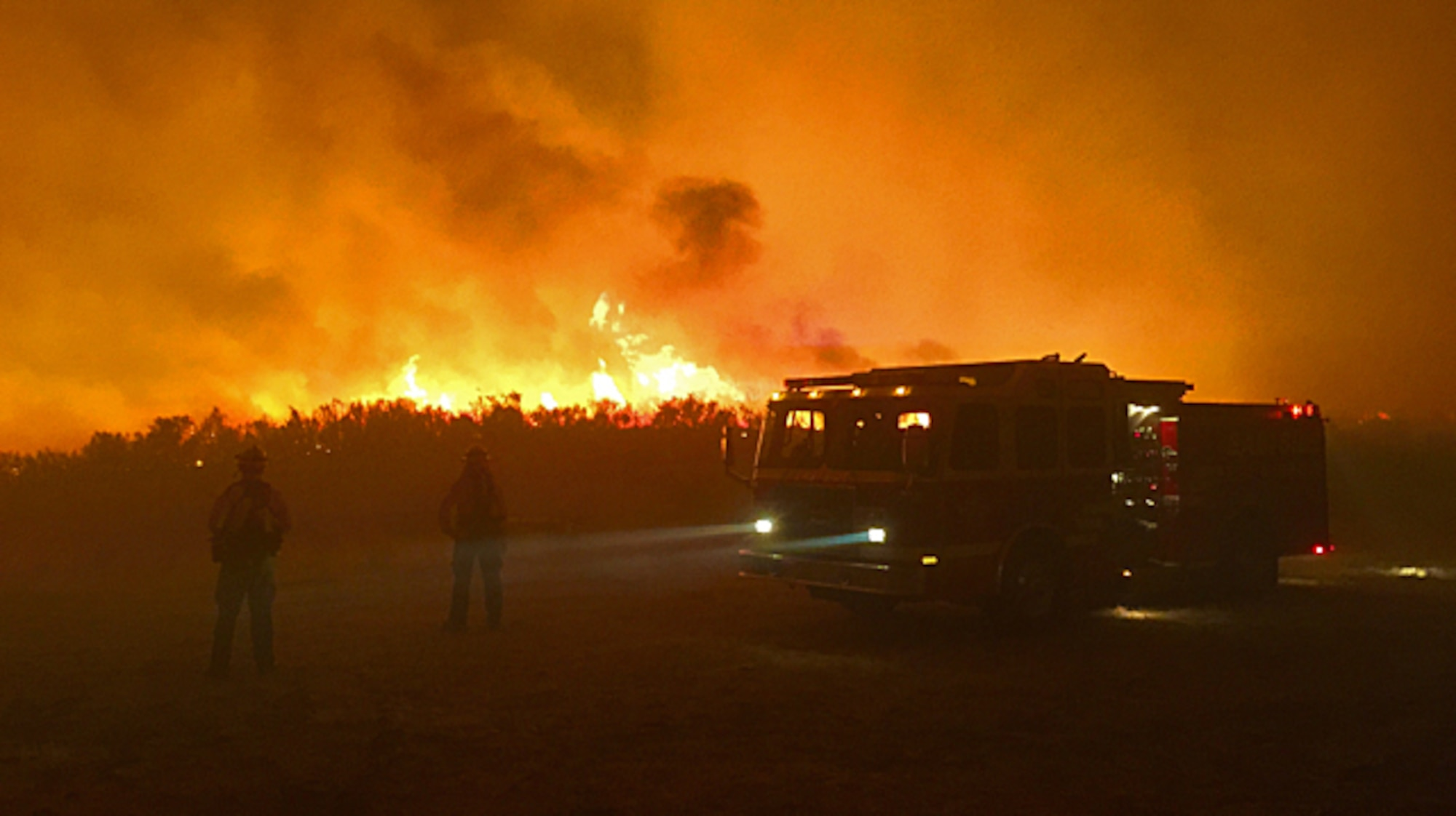 The Okanogan Complex fire in Washington burns Aug. 24, 2015. Task force teams staged at Fairchild Air Force Base, Wash., are assisting in firefighting efforts across the state to include the Okanogan Complex fire following the Type 3 Incident Management team's arrival to the base Aug. 22 to stand up a fire mobilization center. (Courtesy photo)