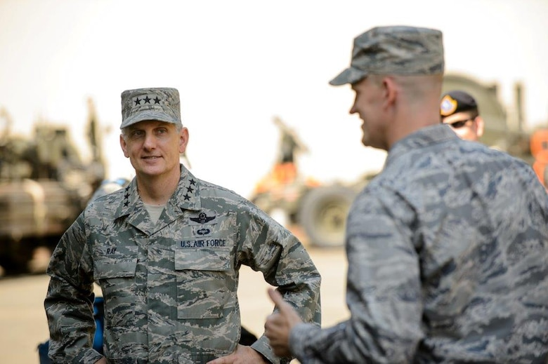Lt. Gen. Tim Ray, the 3rd Air Force and 17th Expeditionary Air Force commander, meets Airmen at Ramstein Air Base, Germany, Aug. 6, 2015. Ray visited the 435th Air Ground Operations Wing and 435th Air Expeditionary Wing to view what they bring to the European and African theaters of operation. (U.S. Air Force photo/Staff Sgt. Armando A. Schwier-Morales)