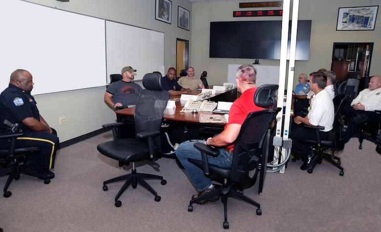 Members of several local agencies and Marine Corps Logistics Base Albany officials participate in an active shooter/mass casualty webinar recently held aboard the installation.