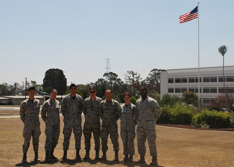 The Company Grade Officers Council executives pose in front of the headquarters building recently (From left) 1st Lt. Chris Huynh, 2nd Range Operations Squadron, CGOC publicity officer, Capt. Laura England, 533rd Training Squadron, CGOC professional development chair, 1st Lt. Jonathan Schirner, 30th Space Wing, CGOC vice president, 1st Lt. Ross Malugani, 614th Air Operations Center, CGOC fundraising chair, 1st Lt. Ben Fried 4th Space Launch Squadron, CGOC Treasurer, 2nd Lt. Casey Gomez, 2nd ROPS, CGOC social chair, Capt. Kelson Nisbett, 381st Training Support Squadron, CGOC president, Vandenberg Air Force Base, Calif. (Courtesy photo)