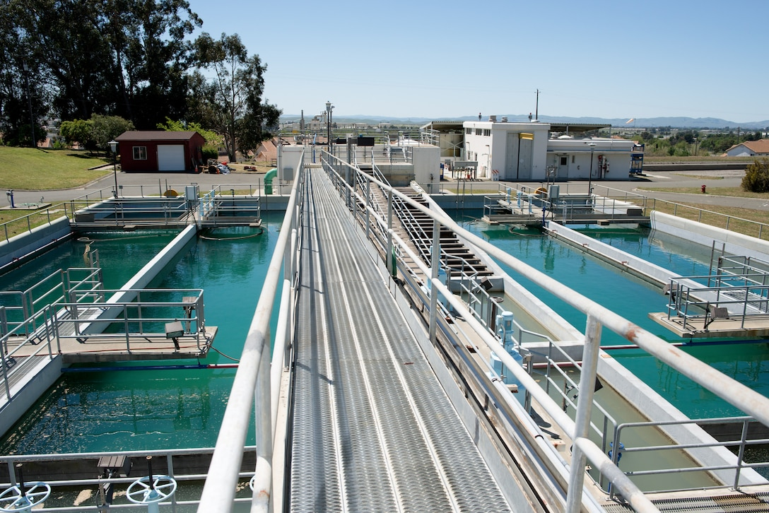 The water treatment plant at Travis Air Force Base, California, is capable of treating 7.5 million gallons of water per day. Conservation efforts at the base have led to a reduction of more than seven percent when compared to the same time period last year. (U.S. Air Force photo/Ken Wright)