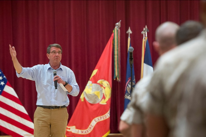 Defense Secretary Ash Carter speaks to Marines during a visit to Camp Pendleton Calif., Aug. 27, 2015. Carter visited the base to observe a beach assault demonstration and speak with troops. DoD photo by U.S. Air Force Master Sgt. Adrian Cadiz
