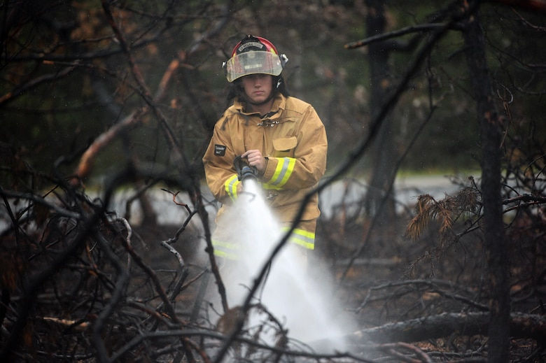Senior Airman Brandon L. Ehlers, a firefighter with the 106th Rescue Wing, sprays down a burned area of woods Aug. 21, 2015, in Westhampton Beach, N.Y. Multiple agencies and fire departments responded to a major brush fire in the area. Firefighters from the 106th RQW checked for hot spots, which was a serious concern due to the dry weather during the previous week. (New York Air National Guard photo/Staff Sgt. Christopher S. Muncy)