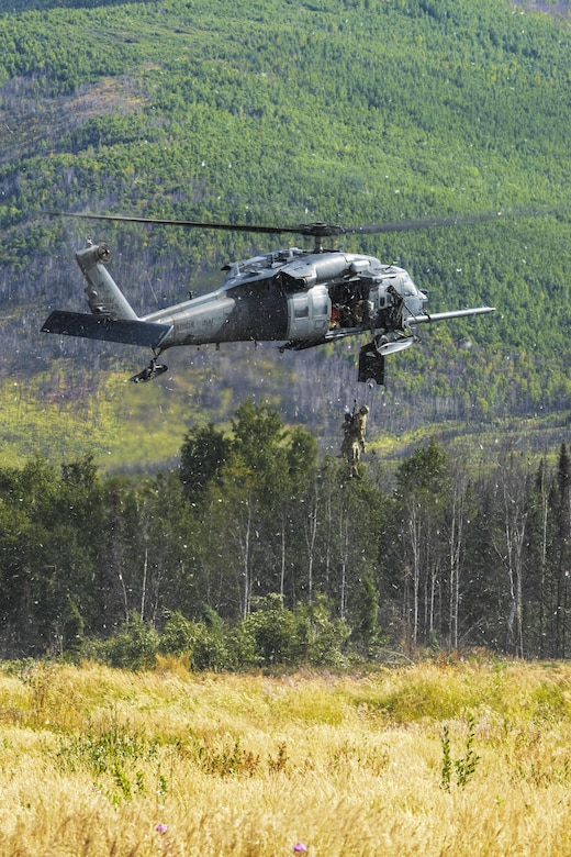 An HH-60G Pave Hawk assigned to the 210th Rescue Squadron at Joint Base Elmendorf-Richardson, Alaska, hovers as Airmen perform a rescue demonstration during Red Flag-Alaska 15-3 Aug. 17, 2015, at the Joint Pacific Alaska Range Complex. The demonstration was for the Executive Observer Program, which is designed to present Pacific Air Force's premier multinational large force employment exercise while building partnerships with senior airpower leaders from the global community. (U.S. Air Force photo/Senior Airman Ashley Nicole Taylor)