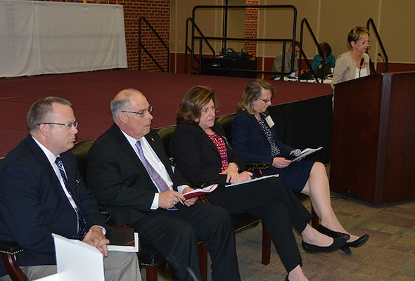 Better Buying Power panel members listen to a presentation during the 21st annual Senior Executive Partnership Roundtable May 6 in Richmond, Virginia.