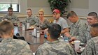 Kellie Pickler, country music artist and TV personality, joined her husband, Kyle Jacobs, in a special visit to the 1st Infantry Division and Fort Riley Aug. 18.  Pickler and Jacobs dine with Soldiers at the Cantigny Dining Facility.