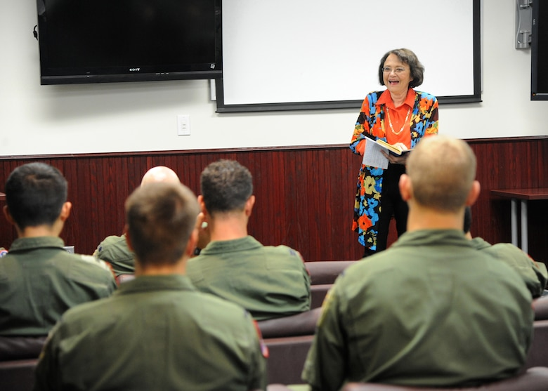 Cynthia Chennault, University of Florida-Gainesville professor of Chinese, speaks during the 435th Fighter Training Squadron library dedication Aug. 28, 2015 at Joint Base San Antonio-Randolph. The library is dedicated in honor of her father, Lt. Gen. Claire Chennault, commander of the famed first American volunteer group in China during the early years of World War II, better known as the Flying Tigers.  (U.S. Air Force photo by Melissa Peterson/released)