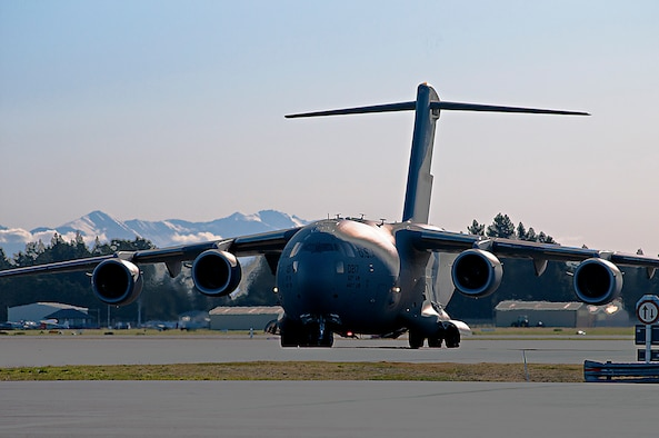 A U.S. Air Force C-17 Globemaster III from Joint Base Lewis-McChord, Washington, taxis to a parking spot at Christchurch International Airport, New Zealand, Aug. 21, 2015. The aircraft was used to fly missions to Antarctica in support of the U.S. Antarctic Program's WINFLY. WINFLY missions are flown using night vision goggles, because the sun doesn't rise during winter in Antarctica. (U.S. Air Force photo by Senior Airman Madelyn McCullough)