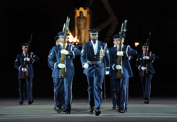 the united states air force honor guard drill team performs during the royal edinburgh military tattoo - Andrews International Security Guard