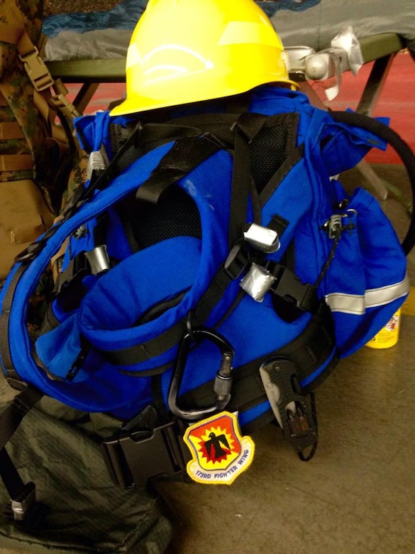 Pictured here is the equipment issued to the volunteer Airmen from the 173rd Fighter Wing who are assisting with wild land firefighting efforts across the state of Oregon August 27, 2015.  Fifty-five Airmen from Kingsley Field in Klamath Falls, Oregon were voluntarily activated by Governor Kate Brown as fires spread across the state.  (U.S. Air National Guard photo by 1st Lieutenant Adrian Mateos/released)