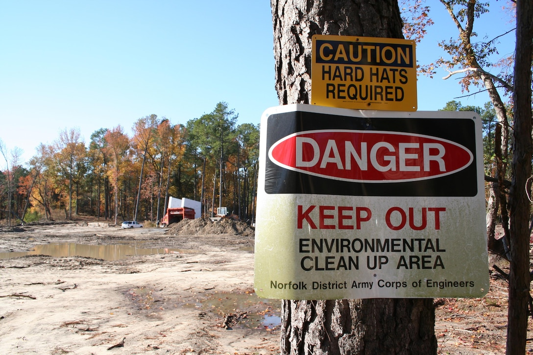 SUFFOLK, Va. -- A sign warns people of the danger at the Former Nansemond Ordnance Depot. In 1987 the Former Nansemond Ordnance Depot  became a matter of public concern when a piece of crystalline TNT was found at the Tidewater Community College, Portsmouth Campus. Extensive historical research, investigations, and testing led the U.S. Environmental Protection Agency to place this site on the National Priority list in 1999. The U.S. Army Corps of Engineers has managed the clean-up project on this site since. (U.S. Army photo/Patrick Bloodgood)
