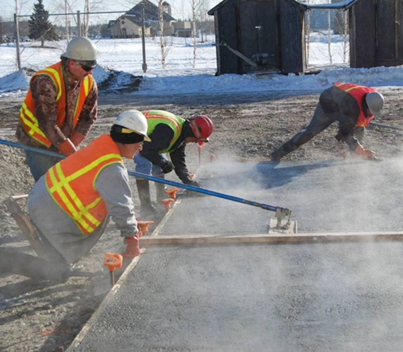 "Developed at CRREL, Cold Weather Admixture Systems (CWAS or ""antifreeze concrete"") concrete allows users to mix, place, finish and cure concrete exposed to near- and sub-freezing air temperatures where normal concrete suffers irreparable damage."