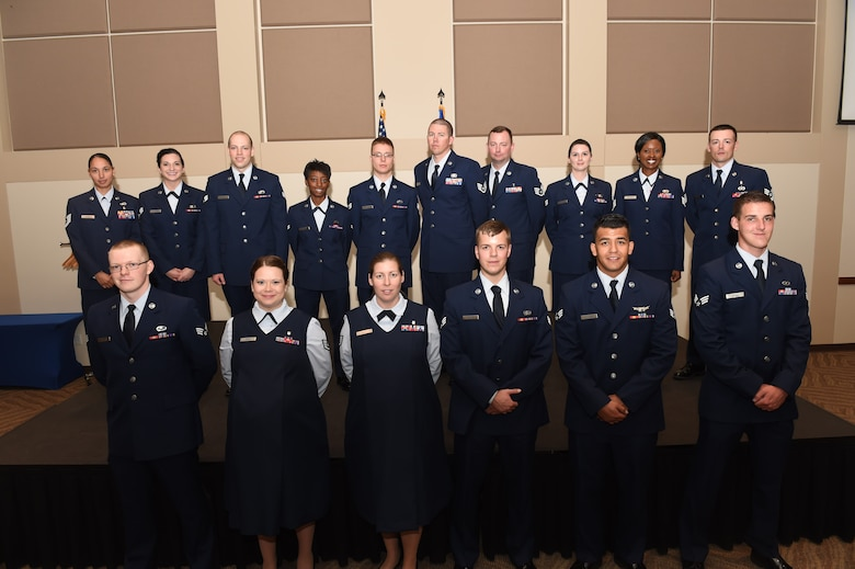 Team Buckley members were promoted to their next ranks August 31, 2015, at the Leadership Development Center on Buckley Air Force Base, Colo. A promotion ceremony is a time-honored tradition in the Air Force, allowing co-workers, family and friends to support and congratulate Airmen on their promotion. (U.S. Air Force photo by Airman 1st Class Samantha Meadors/Released)