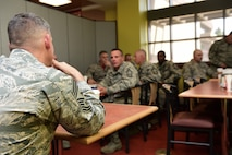 Buckley enlisted leaders ask Chief Master Sgt. Patrick McMahon, Air Force Space Command command chief, questions during lunch Aug. 28, 2015, at the Panthers Den on Buckley Air Force Base, Colo. McMahon visited Buckley AFB for the first time after becoming the senior enlisted leader of Air Force Space Command, communicating his goals, answering Airman's questions and recognizing outstanding performers. (U.S. Air Force photo by Senior Airman Phillip Houk/Released)