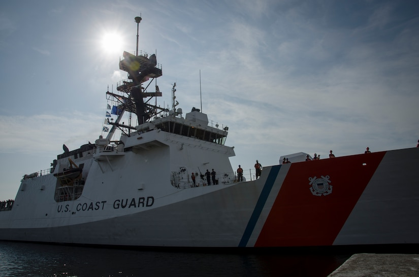 The United States Coast Guard Cutter James, the second National Security Cutter for the East Coast, arrived Aug. 28, 2015 in its homeport in Charleston, S.C.  The James is the fifth NSC built out of eight planned for the Legend class cutter fleet. Legend-class NSC's are the largest multipurpose cutters in the Coast Guard fleet and are replacing the 378-foot high endurance cutter, which has been in service since the 1960s. The NSC is 418 feet long, has a top speed of approximately 28 knots and a range of about 12,000 nautical miles. It is capable of patrolling for more than 90 days. (U.S. Air Force photo/Staff Sgt. AJ Hyatt)